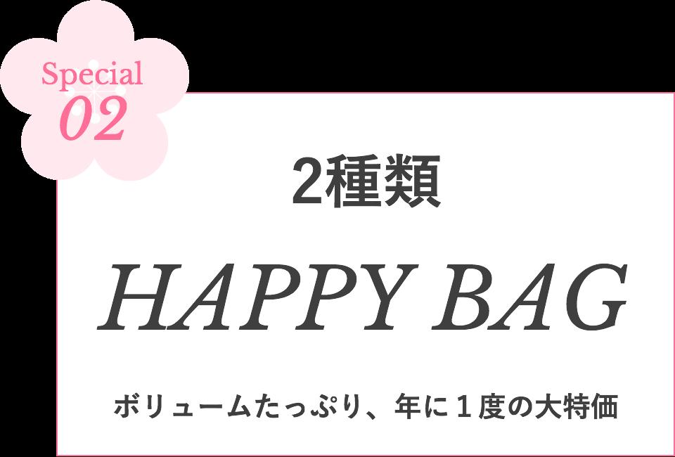 Special02 2種類 HAPPY BAG ボリュームたっぷり、年に1度の大特価